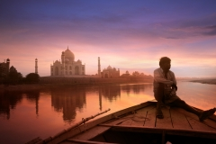 Taj Mahal sunset on the Yamuna river